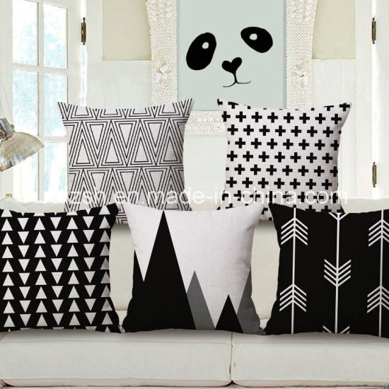 Geometric Black and White Cotton and Linen Pillow Cover
