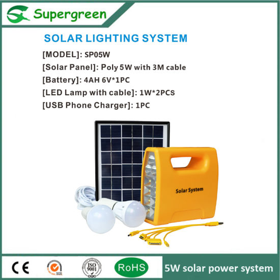 5W Solar DC Power System 1W Solar Home Lighting Kit pictures & photos
