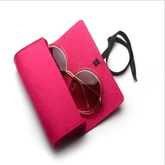Popular Fashion Colorful Print Laser Logo Felt Case for Sun Glasses Sunglasses