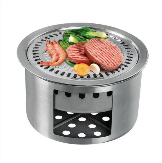 4.9x5.5 Camping Stove Potable Wood Burning Stoves for Picnic BBQ Camp Hiking with Grill Grid Stainless Steel Backpacking Stove