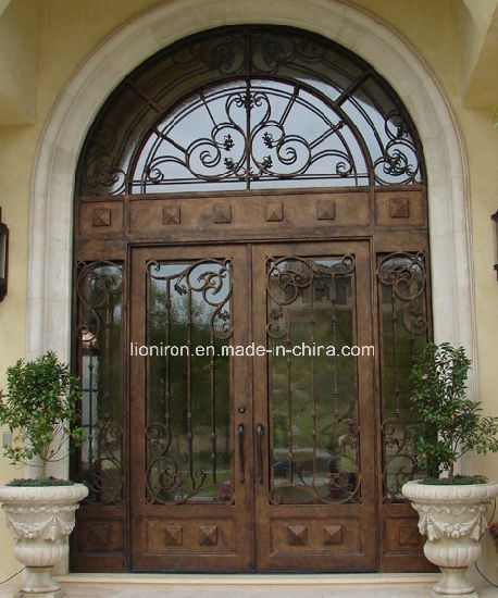 China Round Top Wrought Iron Front Entry Doors For Villa China