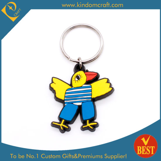 High Quality Personal Design Funny Cute Bird Shape Rubber Key Ring Key Chain in Cartoon Style at Factory Price
