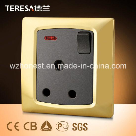 British Standard 1 Gang 15A Electric Wall Switch Socket in Iran or Iraq Market