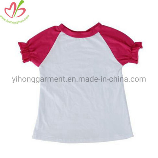 Reglan Bubble Sleeve Cotton Girl Blank Shirts for Children