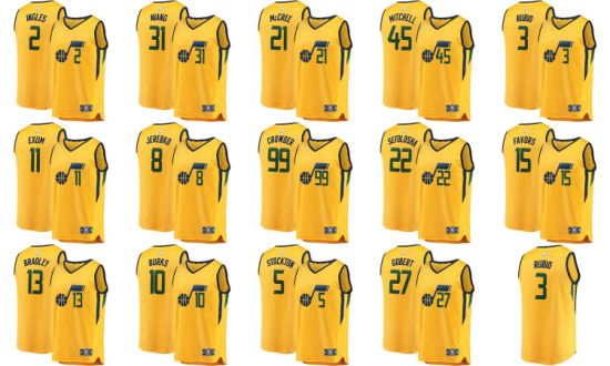 new arrival 2798b 0d1d0 Utah Jazz Fanatics Branded Gold Fast Break Custom Replica Basketball Jerseys