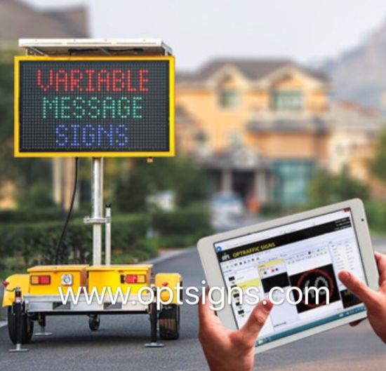 Outdoor Electronic Message Boards Trailer Mounted Vms Led Solar Traffic Sign