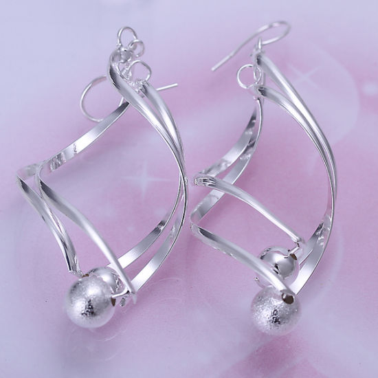 Silver Curve Eight Shape Earring with Two Beads Creative Design Most Fashion jewellery pictures & photos
