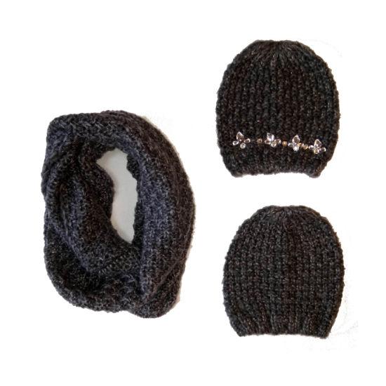 Lady Winter Fashion Marl Hat Snood Set