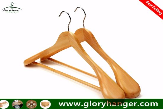 Luxury Hotel Wooden Coat Clothes Hanger for Garment Suit Clothing Display