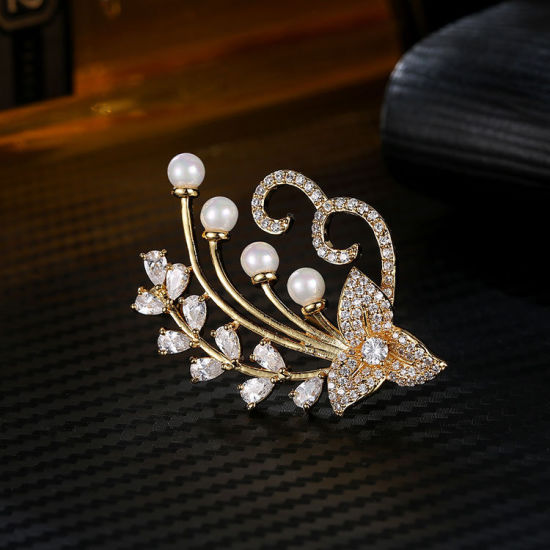 Jewelry Fashion with Pearl Shell &AAA Cubic Zircon White /Yellow Gold /Rose Gold Plated Women Brooch Jewelry pictures & photos