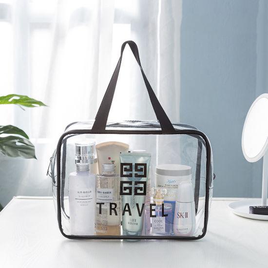 Wholesale Custom Logo PVC Waterproof Makeup Travel Toiletry Case Cosmetic Bag Set Bag with Handles