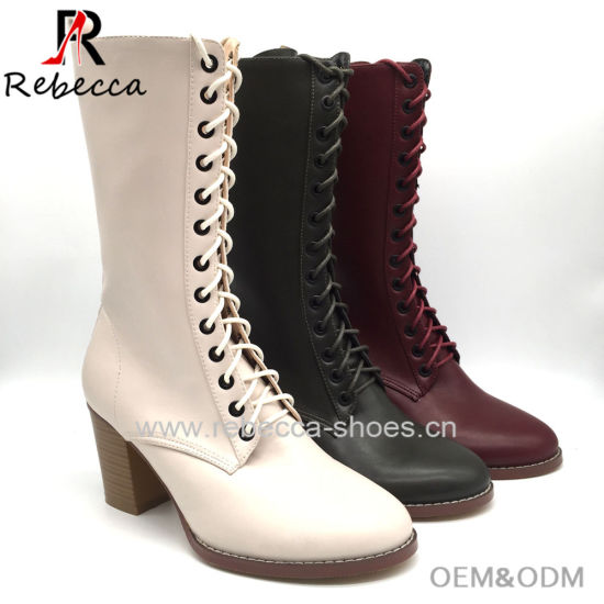 667b534f857b7 OEM Lady Lace up Boots Handmade Leather Block Heel Shoes for Wholesale