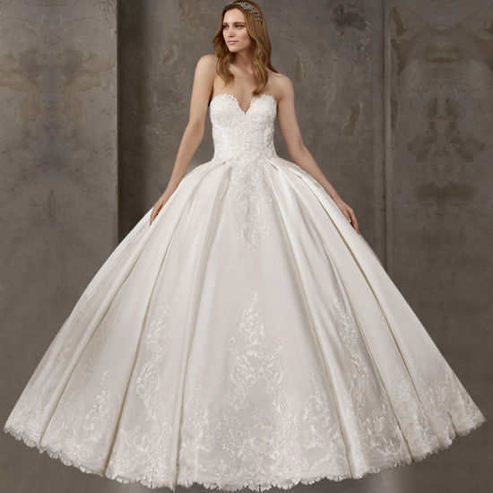 Strapless Satin Bridal Ball Gowns Lace Beaded Wedding Dress Women Dresses Mrl2882 pictures & photos