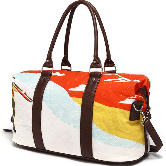 Newest Design PU Leather Digital Printing Canvas Ladies Sport Travel Bag (CF-1804)