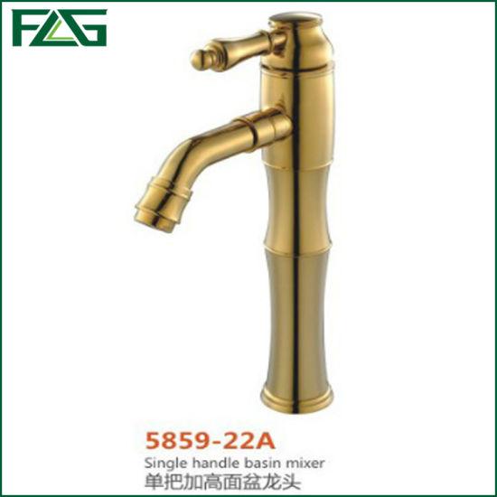 Flg Ceramic Valve Gold Single Handle Brass Basin Mixer Faucet Tap