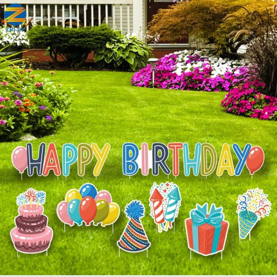 Multi-Color Lawn Birthday Decoration Happy Birthday Yard Signs with Stakes