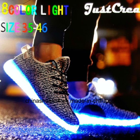 312956a5d0 Fashion Men Outdoor Running Skateboard Leisure Knitting Shoe with LED Light