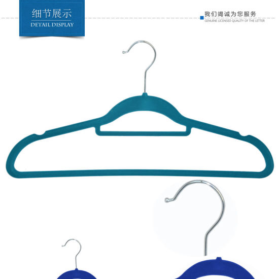 High Quality Thin and Flat Plastic Flocking Velvet Colorful Hangers pictures & photos