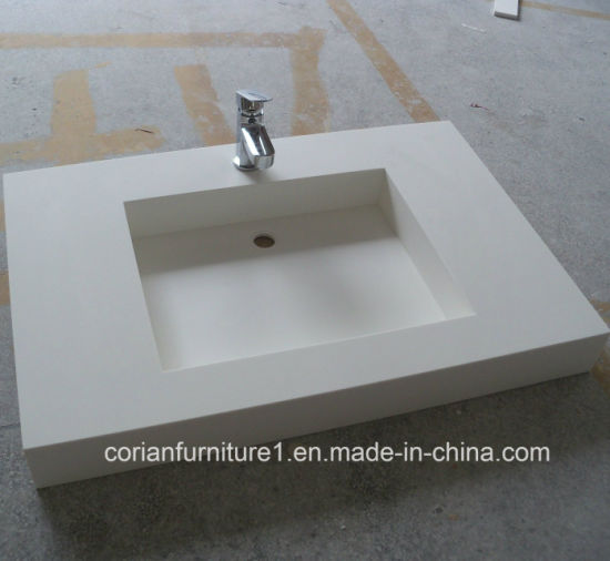 Custom Sized Acrylic Solid Surface Corian Bathroom Basin Vanity with Sinks
