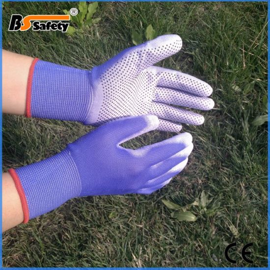 New Design Good PU Coated Garden Work Safety Gloves with Dots for Woman