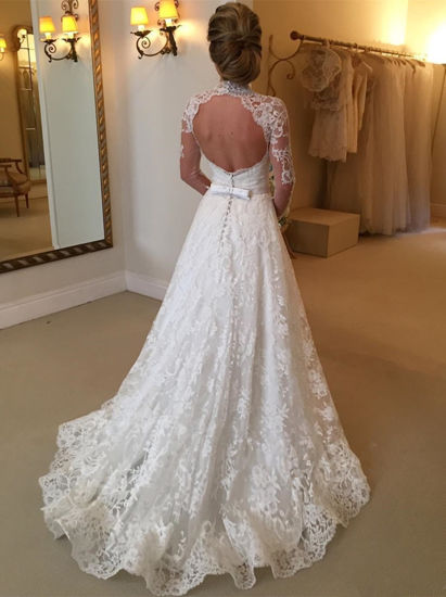 High Neck Long Sleeves Lace A-Line Court Train Wedding Dress (Dream-100079) pictures & photos