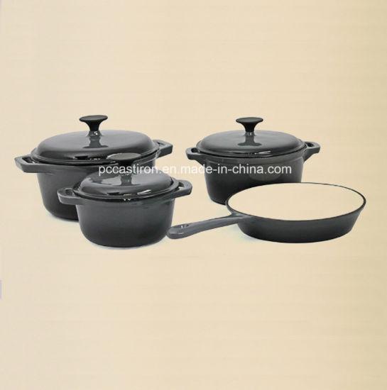 Enamel Cast Iron Cookware Set In 4pcs Blue Color
