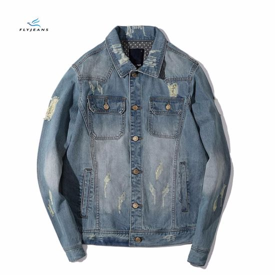 Fashion Casual Cotton Denim Jackets with Holes by Fly Jeans