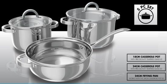 5PCS Stainless Steel Cookware Set Glass Lid