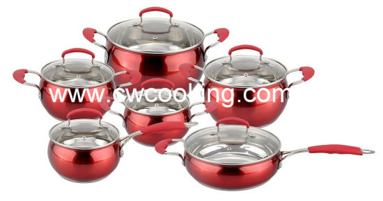 12PCS Apple Shape Cookware Set with Red Painting