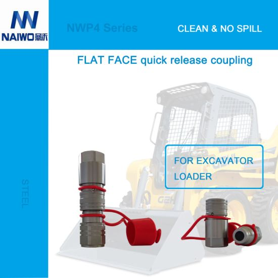 "1/2"" NPT Flush Face Quick Connects Couplers for Excavator Quick Hitch Skid Steer Loader"