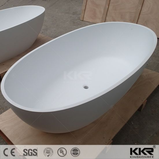 Exceptional 52 Inch Two Person Freestanding White Black Stone Solid Surface Bathtub