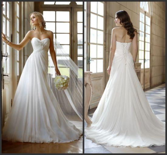 China Sweetheart Bridal Dresses Beading Chiffon Beach Wedding