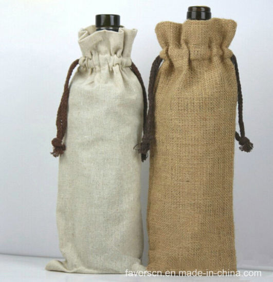 Burlap Bag / Linen Wine Pouch with String pictures & photos