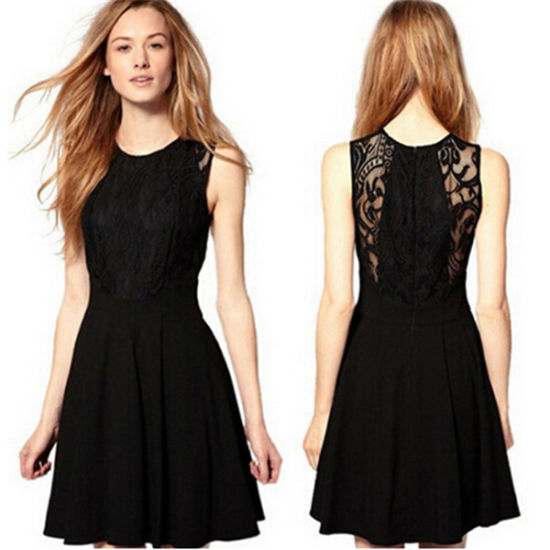 Elegant Lace Dress Black Mini Chiffon Prom Dress