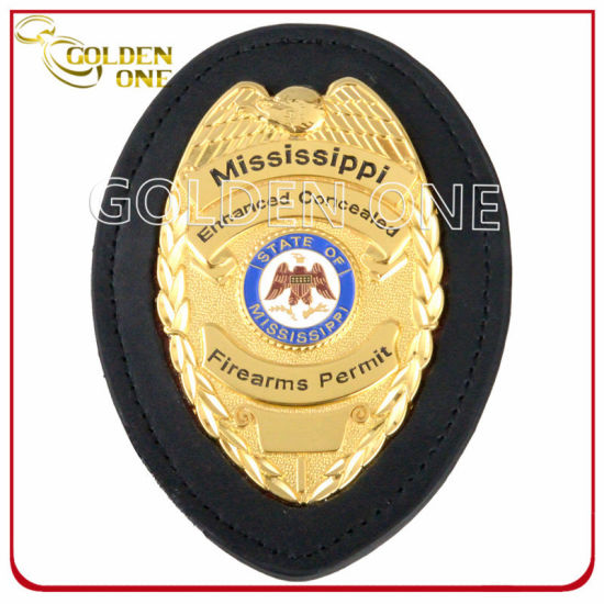 Custom Made Bright Gold Plated Metal Emblem Police Badge