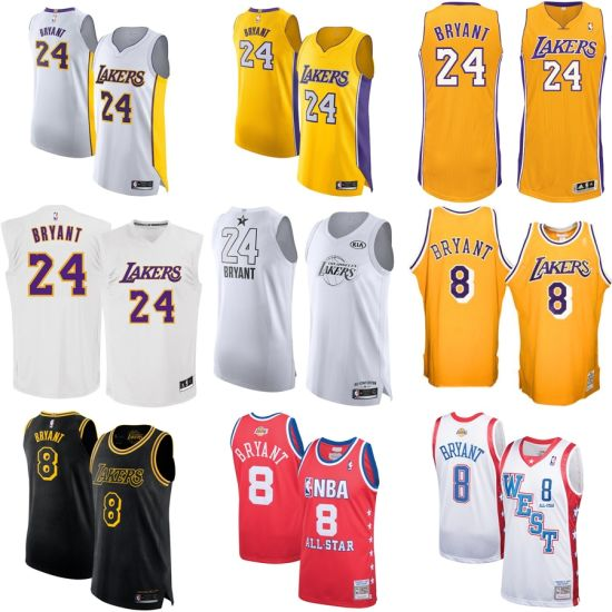1b861b1fdfbf Los Angeles Lakers Kobe Bryant  24  8 Authentic Classic Basketball Jersey
