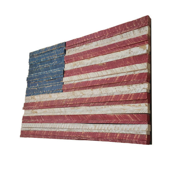 Decoupage Hand Painted Metal Rustic American Flag Wooden Wall Art Rustic Home Decor