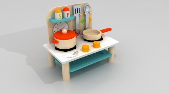 More Cute Wooden Doll Kitchen Toy with Kitchen Accessories for Kids and Children pictures & photos