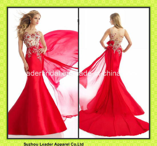Red Party Cocktail Gowns Beading Chiffon Evening Dresses Jan1390