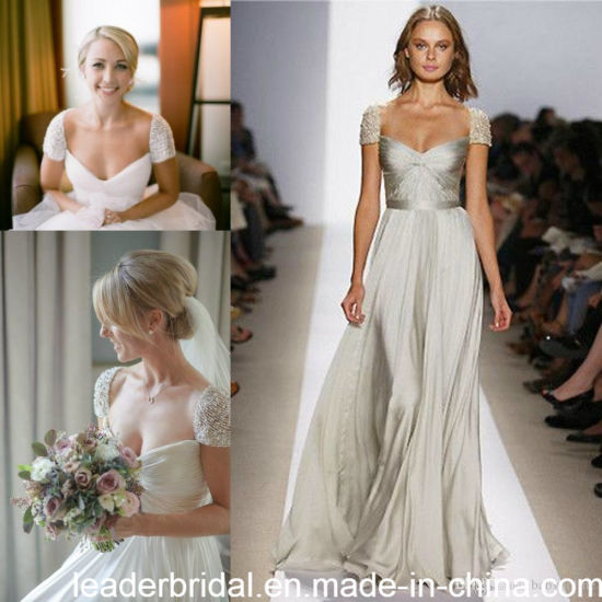 Cap Sleeves Beach Bridal Gowns A-Line Chiffon Wedding Dresses Z8049 pictures & photos