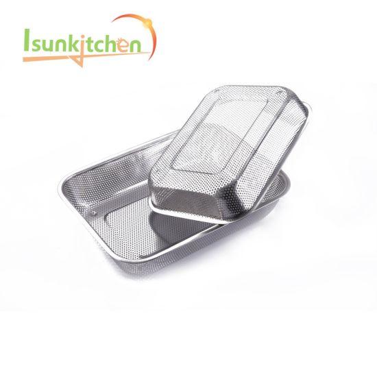 Hot Selling Kitchen Cooker Stainless Steel Rectangular Metal Colander