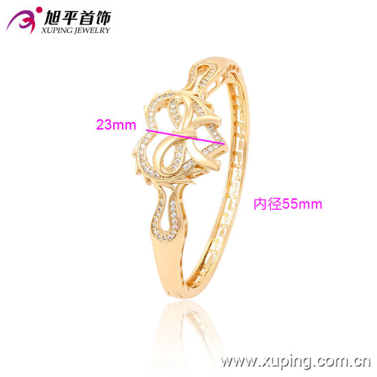 Latest Fashion Xuping Elegant 18k Gold -Plated Heart Jewelry Bangle with Rural Style pictures & photos