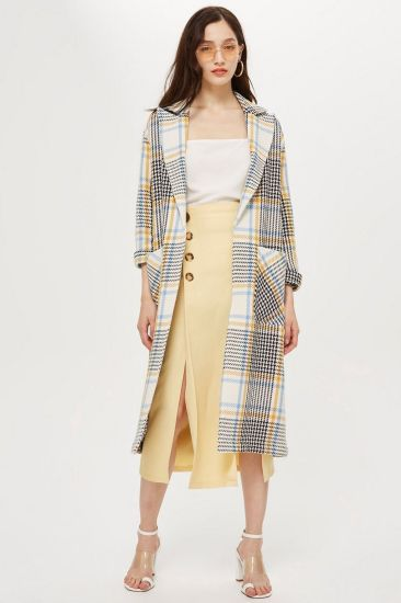 Hot Sale Long Sleeve Check Plaid Duster Wool Coats for Winter