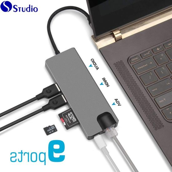 USB C Hub & USB Hub 9 in 1 for Thunderbolt 3 Adapter USB Type C Ethernet  Multiport RJ45 Connector to Audio