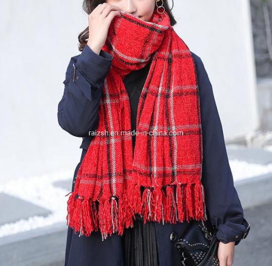 Chenille Throw Scarf Shawl Throw Colorfule Style Winter-Use