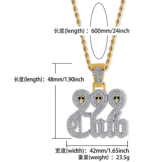 China Hip Hop 999club Human Skeleton Head Pendant Gold Necklace