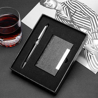 Business 2 Piece Set Company Business Gifts Pen Card Holder Leather Luxury VIP Office Stationery Gift Set