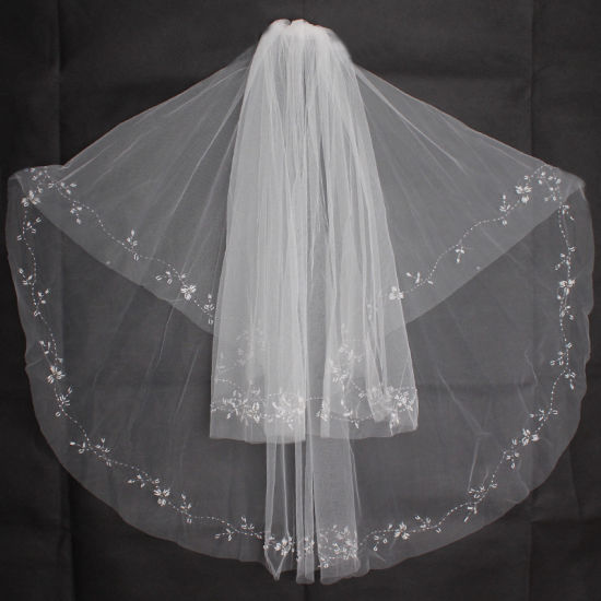 Bridal Wedding Short Beaded Veil Ts5517