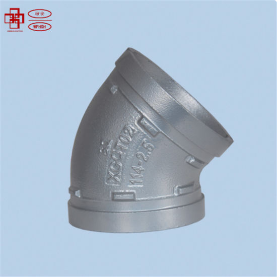 FM and UL Approved Ductile Iron Grooved Pipe Fittings Siliver 90 Degee Elbow for Fire Protection System