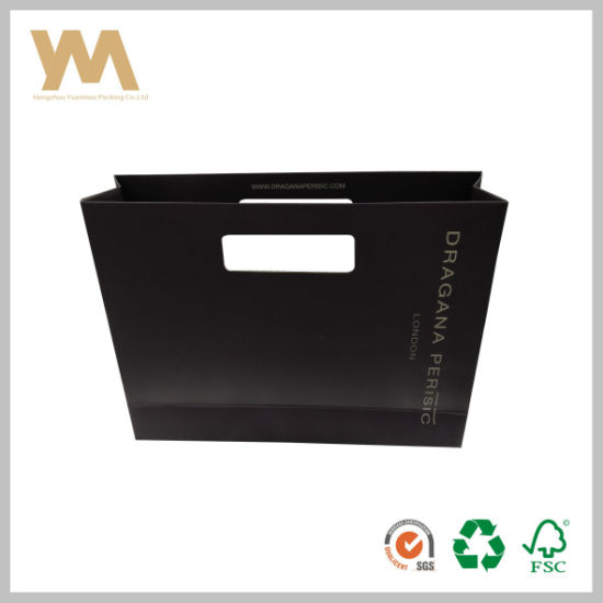 Popular Hand Paper Bag Recycle Black Paper Bag pictures & photos